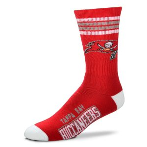 Men's Tampa Bay Buccaneers For Bare Feet 4-Stripe Deuce Team Color Performance Crew Socks