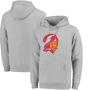 Men's Tampa Bay Buccaneers NFL Pro Line Gray Throwback Logo Pullover Hoodie