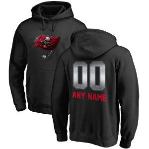 Men's Tampa Bay Buccaneers Black Personalized Midnight Mascot Pullover Hoodie