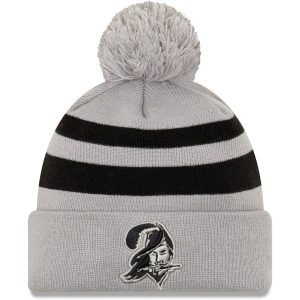 New Era Tampa Bay Buccaneers Gray Rebound Pom Cuffed Knit Hat