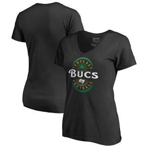 Women's Tampa Bay Buccaneers Black Forever Lucky V-Neck T-Shirt