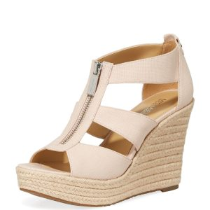 Damita Zip-Front Wedge Sandals, Fuchsia