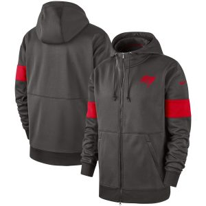 Men's Tampa Bay Buccaneers Nike Pewter Sideline Performance Full-Zip Hoodie