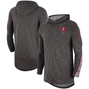 Men's Tampa Bay Buccaneers Nike Pewter Sideline Scrimmage Performance Hooded Long Sleeve T-Shirt