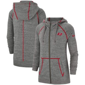 Women's Tampa Bay Buccaneers Nike Heathered Gray Gym Vintage Raglan Full-Zip Hoodie
