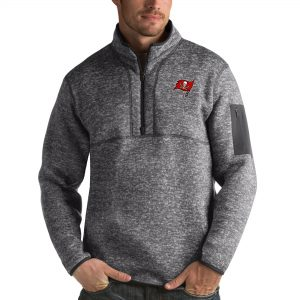Antigua Tampa Bay Buccaneers Charcoal Fortune Quarter-Zip Pullover Jacket