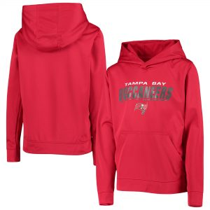 Tampa Bay Buccaneers Youth Red Static Performance Pullover Hoodie