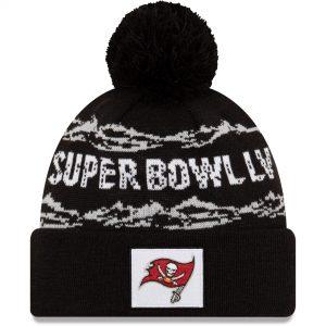 Men's Tampa Bay Buccaneers New Era Black Super Bowl LV Bound Cuffed Pom Knit Hat