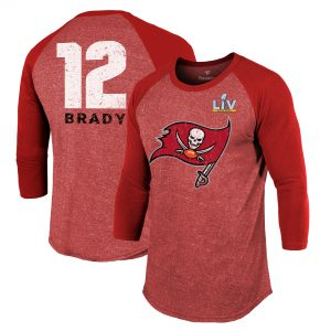 Men's Tampa Bay Buccaneers Tom Brady Red Super Bowl LV 3/4-Sleeve T-Shirt