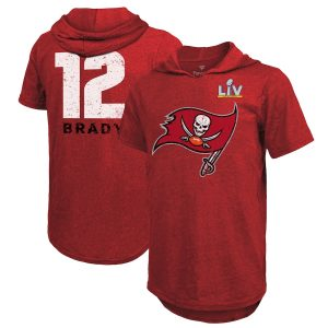 Men's Tampa Bay Buccaneers Tom Brady Red Super Bowl LV Short Sleeve Hoodie T-Shirt